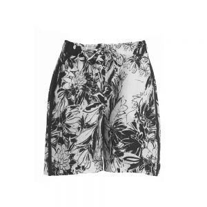 SHORTS IN LINO STAMPATO Nero