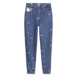 MOM JEANS HIGH RISE TAPERED Blu