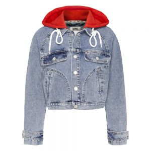 HOODY CROPPED JACKET Blu